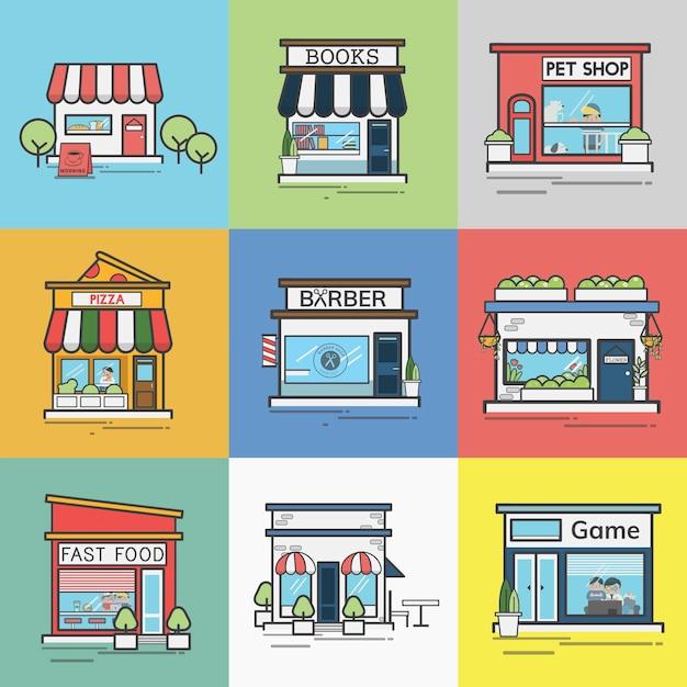 Collezione di negozi e negozi Vettore gratuito