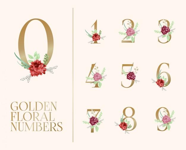 Collezione di numeri floreali dorati Vettore Premium
