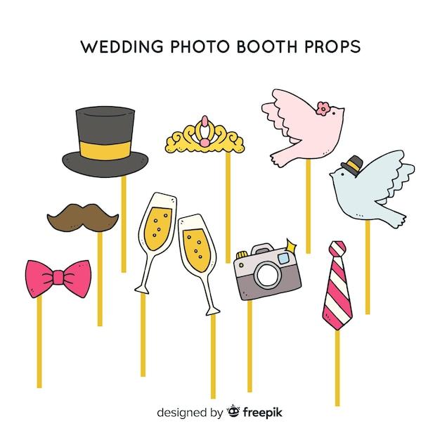 Collezione di oggetti per foto di matrimonio Vettore gratuito