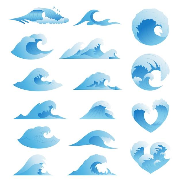 Collezione di onde oceaniche Vettore Premium