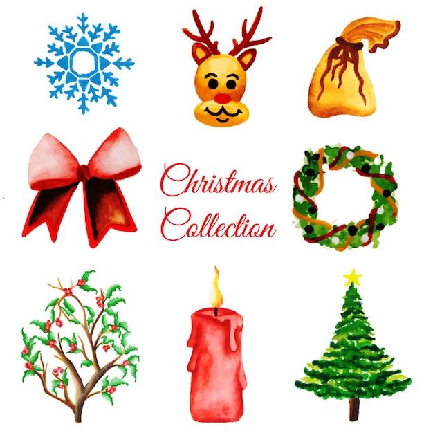 Collezione di ornamenti di natale di acquerello Vettore gratuito