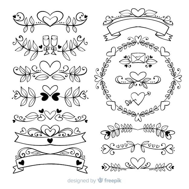 Collezione di ornamenti di nozze disegnati a mano Vettore gratuito