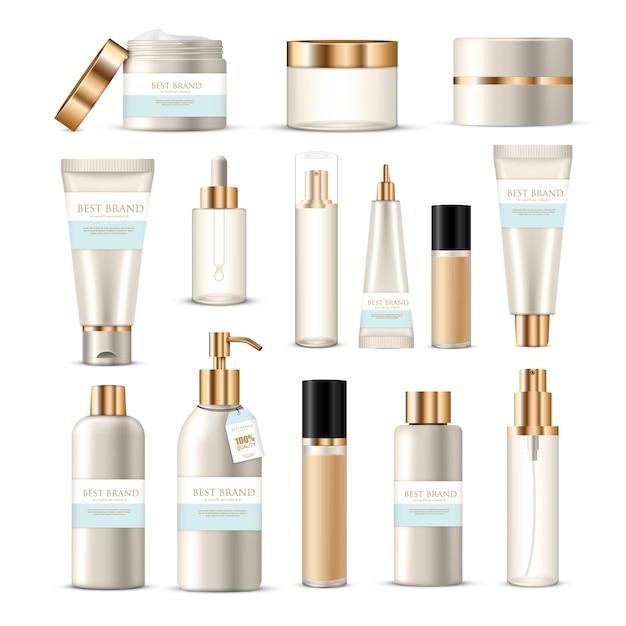 Collezione di pacchetti cosmetici di creme per lozioni di bellezza con decori a marchio dorato e argento Vettore gratuito