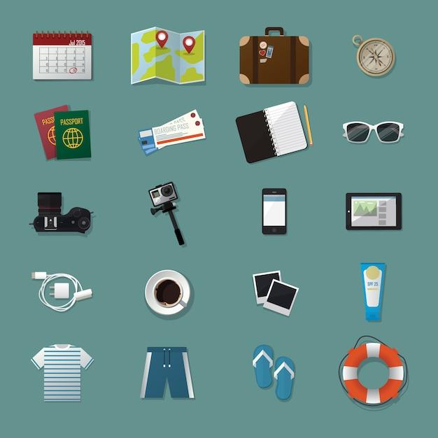 Collezione di pacchetti di icone elemento kit di viaggio Vettore Premium