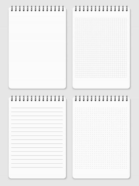 Collezione di pagine di quaderni realistici - quaderno a righe e punti Vettore Premium