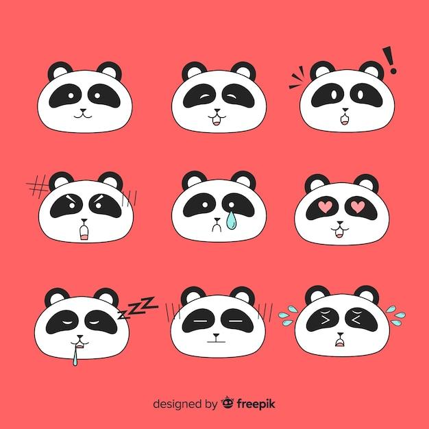 Collezione di panda disegnata a mano kawaii Vettore gratuito