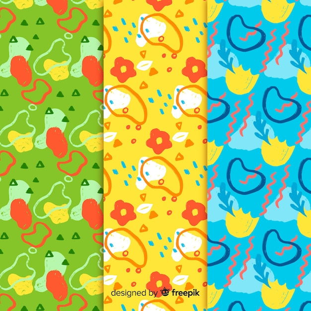 Collezione di pattern astratti disegnati a mano Vettore gratuito