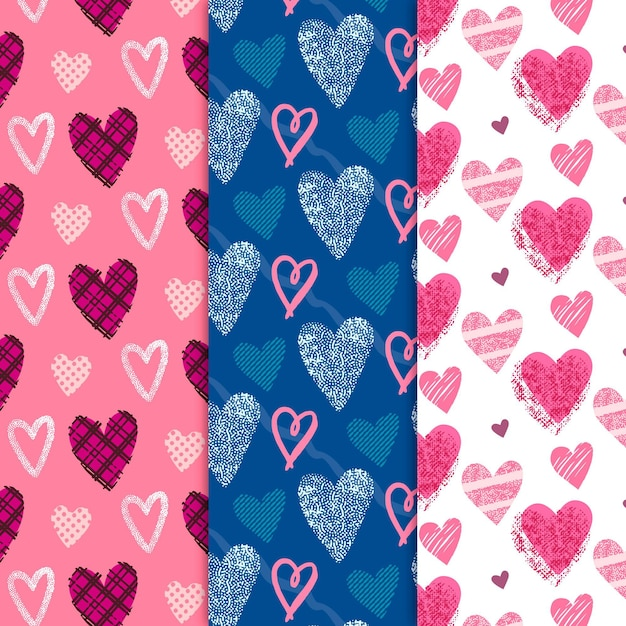 Collezione di pattern cuore disegnato a mano Vettore gratuito