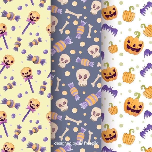 Collezione di pattern di halloween ad acquerello Vettore gratuito