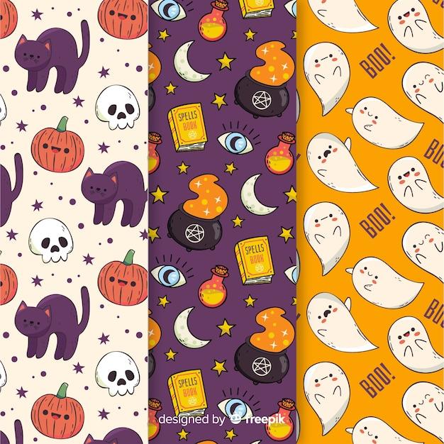 Collezione di pattern di halloween del fumetto Vettore gratuito