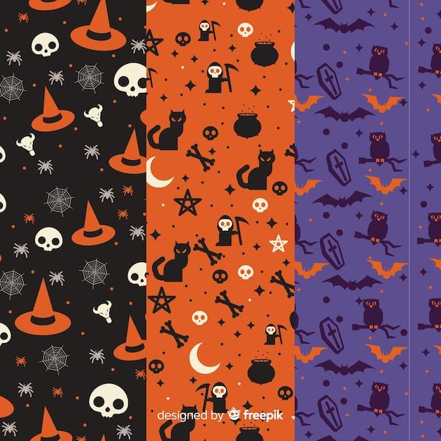Collezione di pattern di halloween in design piatto Vettore gratuito