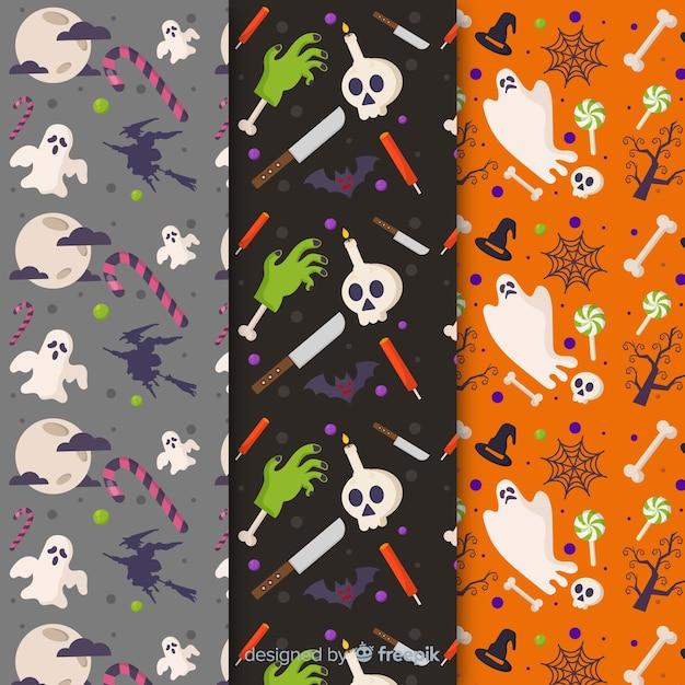 Collezione di pattern di halloween piatto con fantasmi Vettore gratuito