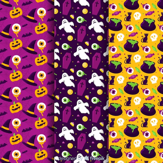 Collezione di pattern di halloween piatto zucca e fantasma Vettore gratuito