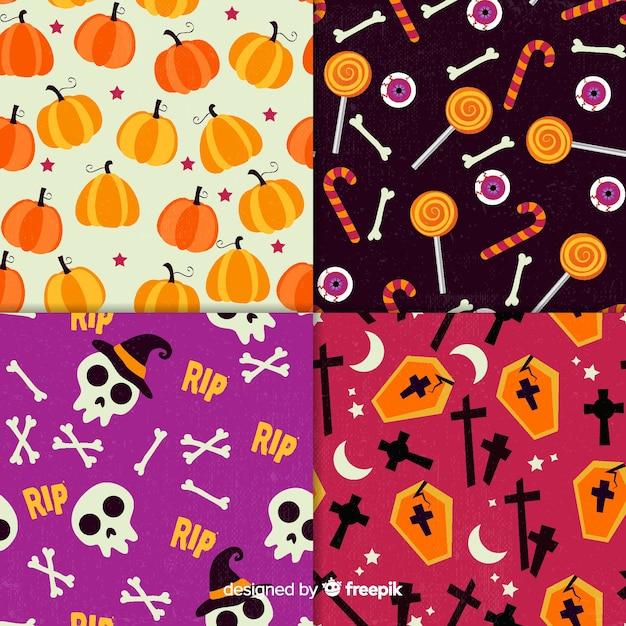 Collezione di pattern di halloween retrò Vettore gratuito