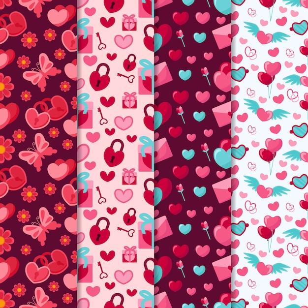 Collezione di pattern di san valentino con farfalle e lucchetti Vettore gratuito