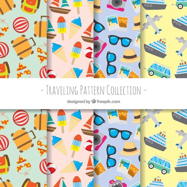 Collezione di pattern di viaggio Vettore gratuito