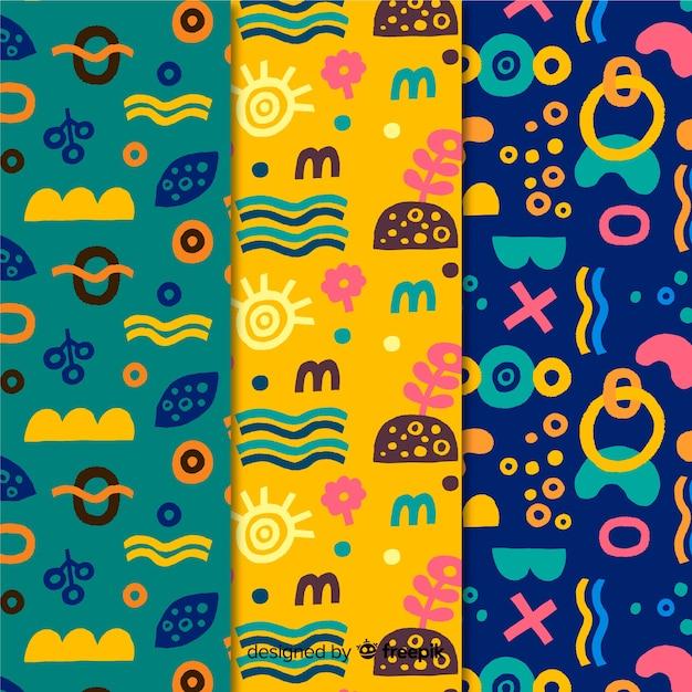 Collezione di pattern disegnati a mano design minimalista colorato Vettore gratuito