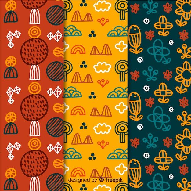 Collezione di pattern disegnati a mano floreale colorato Vettore gratuito
