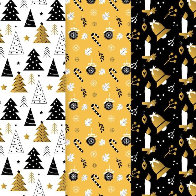 Collezione di pattern natalizi d'oro Vettore gratuito