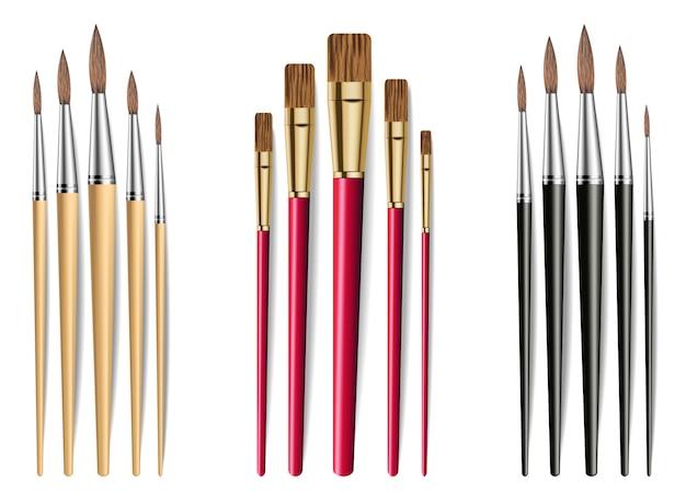 Collezione di pennelli da disegno Vettore Premium