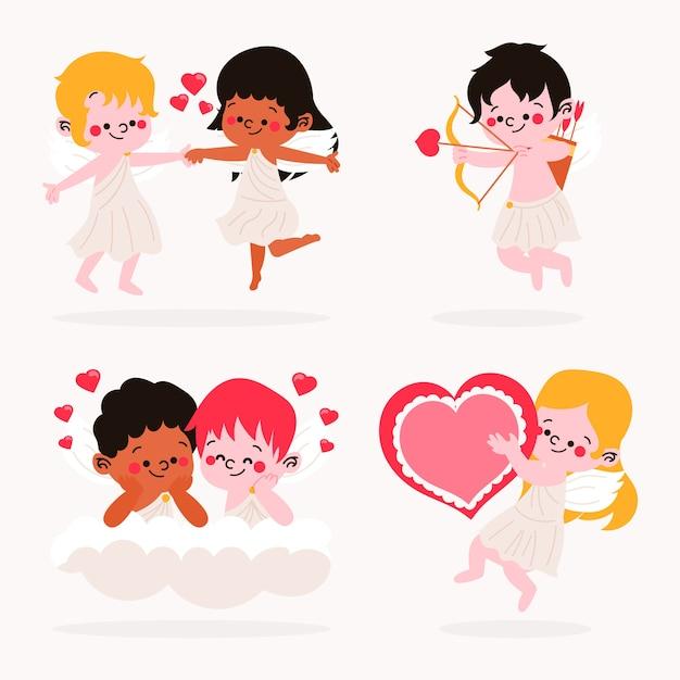 Collezione di personaggi adorabili cupido disegnati a mano Vettore gratuito