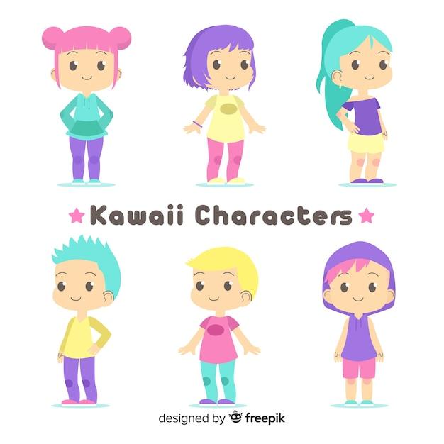 Collezione di personaggi adorabili disegnati a mano Vettore gratuito