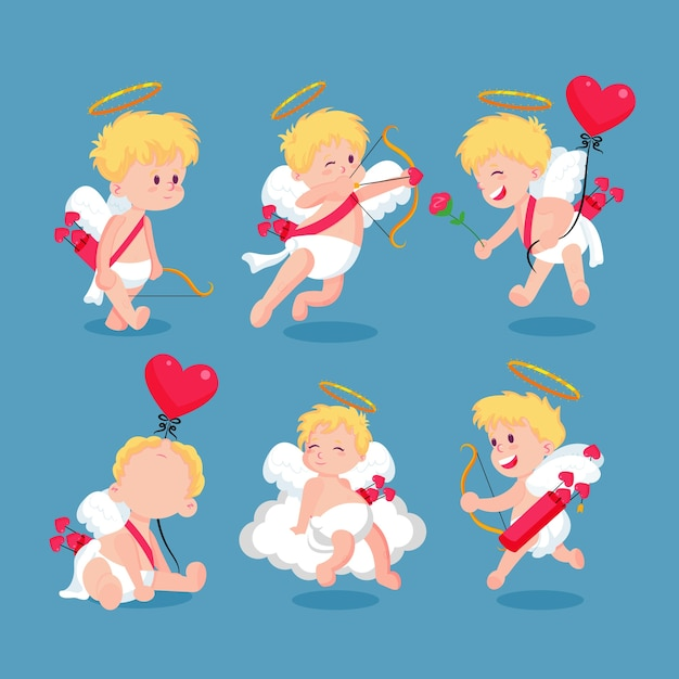 Collezione di personaggi colorati cupido Vettore gratuito