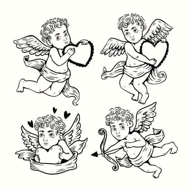 Collezione di personaggi cupido disegnati a mano Vettore gratuito