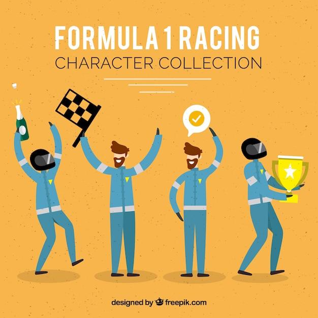 Collezione di personaggi da corsa di formula 1 con design piatto Vettore gratuito