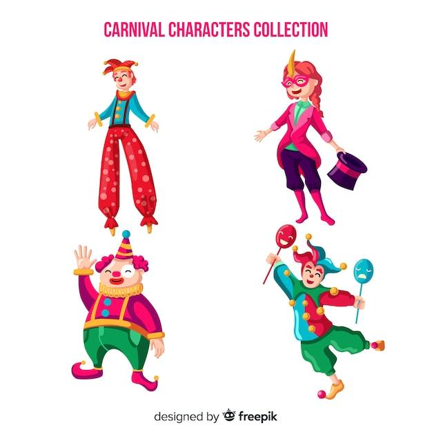Collezione di personaggi del circo di carnevale Vettore gratuito