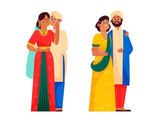Collezione di personaggi del matrimonio indiano Vettore gratuito