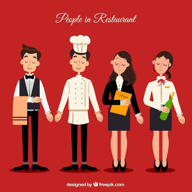 Collezione di personaggi del ristorante Vettore gratuito