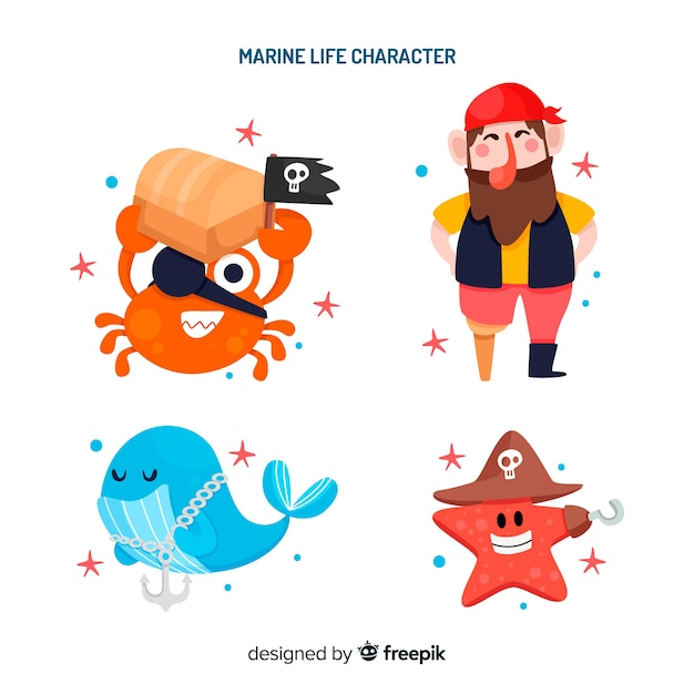 Collezione di personaggi della vita marina Vettore gratuito