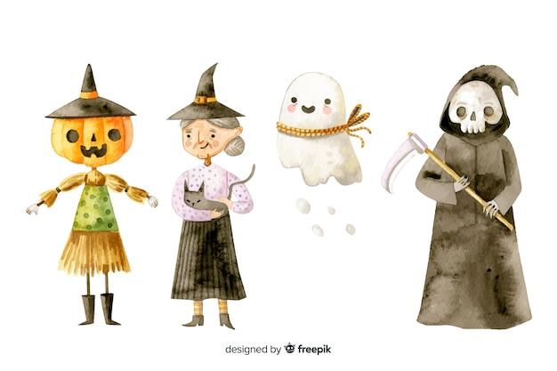 Collezione di personaggi di halloween ad acquerello Vettore gratuito
