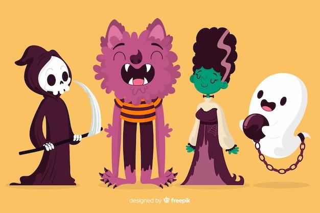 Collezione di personaggi di halloween disegnati a mano Vettore gratuito