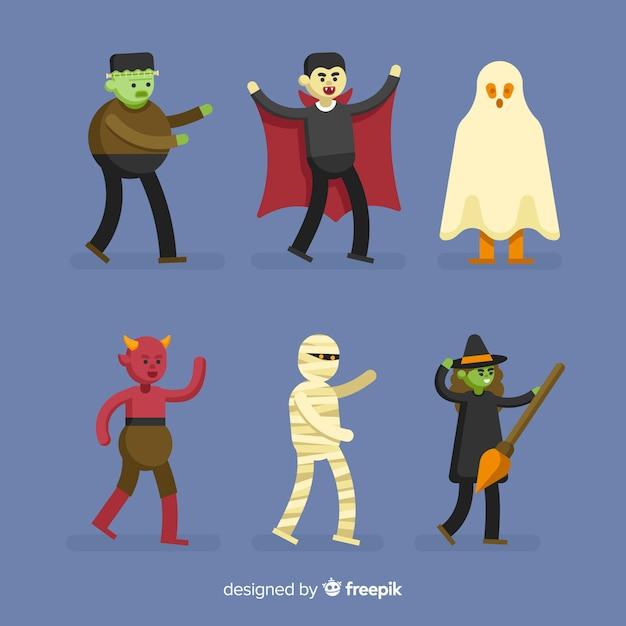 Collezione di personaggi di halloween per adulti Vettore gratuito