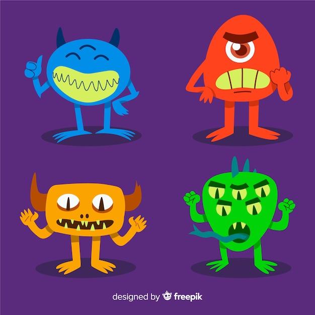 Collezione di personaggi di mostri di halloween Vettore gratuito