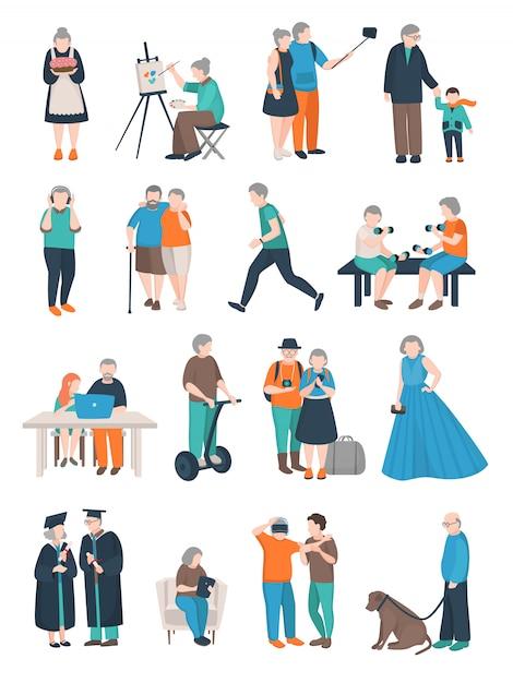 Collezione di personaggi di persone anziane Vettore gratuito