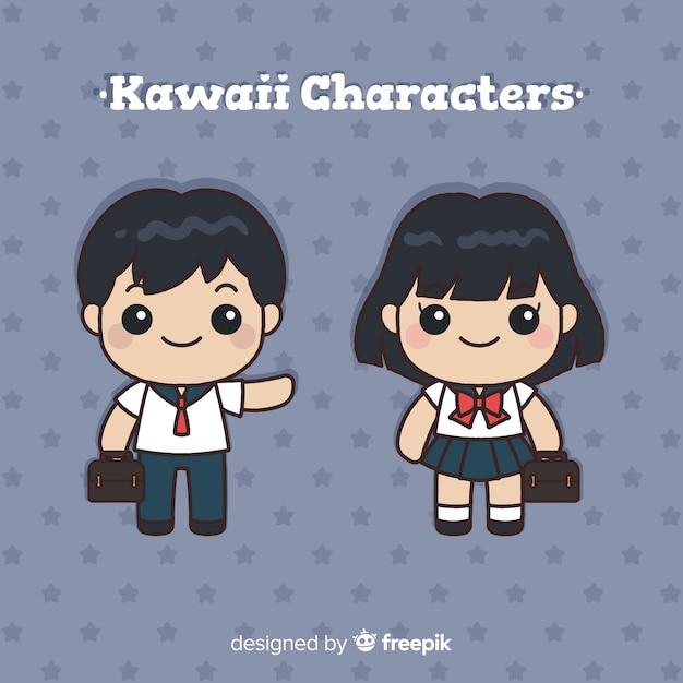 Collezione di personaggi di scuola kawaii disegnata a mano Vettore gratuito
