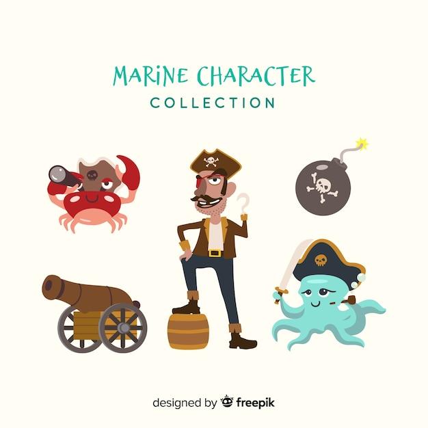 Collezione di personaggi di vita marina piatta Vettore gratuito