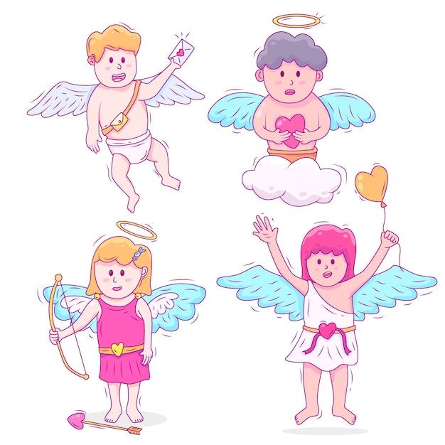 Collezione di personaggi disegnati a mano con cupido Vettore gratuito