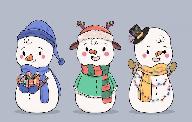 Collezione di personaggi disegnati a mano pupazzo di neve Vettore gratuito