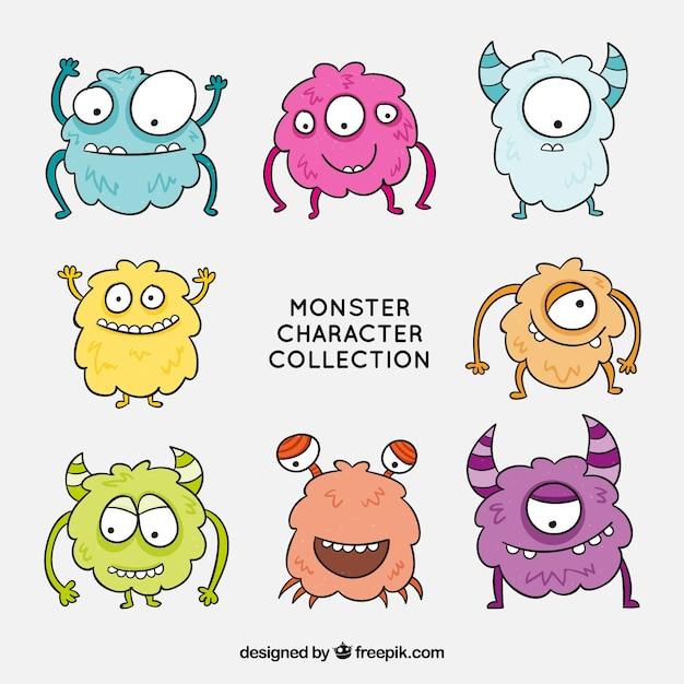 Collezione di personaggi divertenti monsters Vettore gratuito