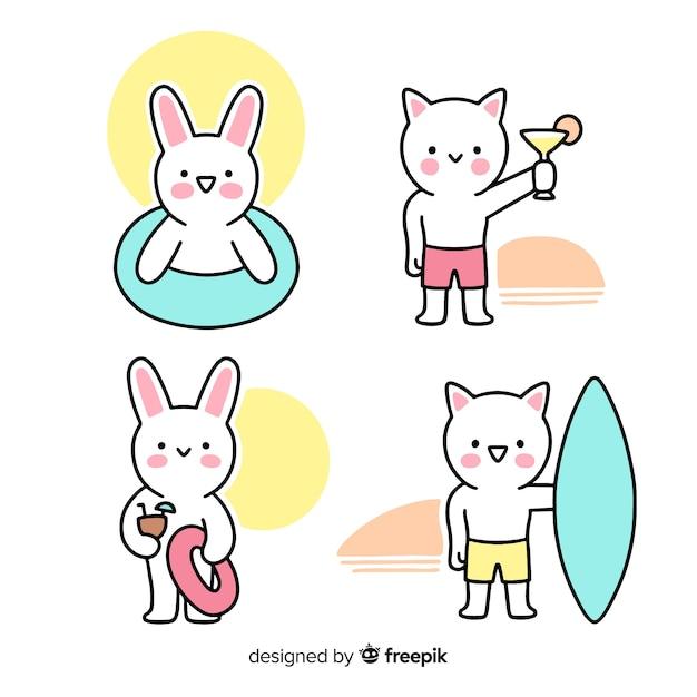Collezione di personaggi estivi kawaii Vettore gratuito