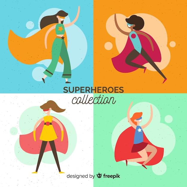 Collezione di personaggi femminili supereroi con design piatto Vettore gratuito