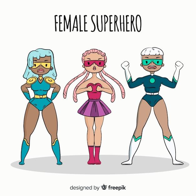 Collezione di personaggi femminili supereroi disegnati a mano Vettore gratuito