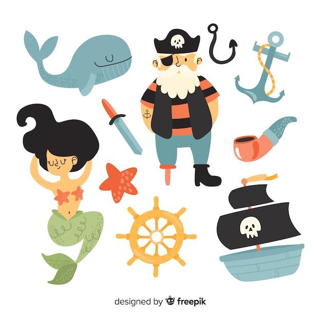 Collezione di personaggi marini disegnati a mano Vettore gratuito