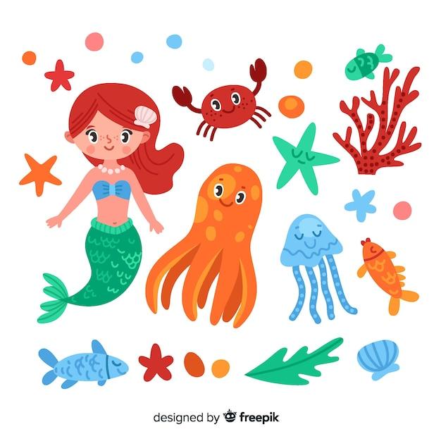 Collezione di personaggi marini piatti Vettore gratuito