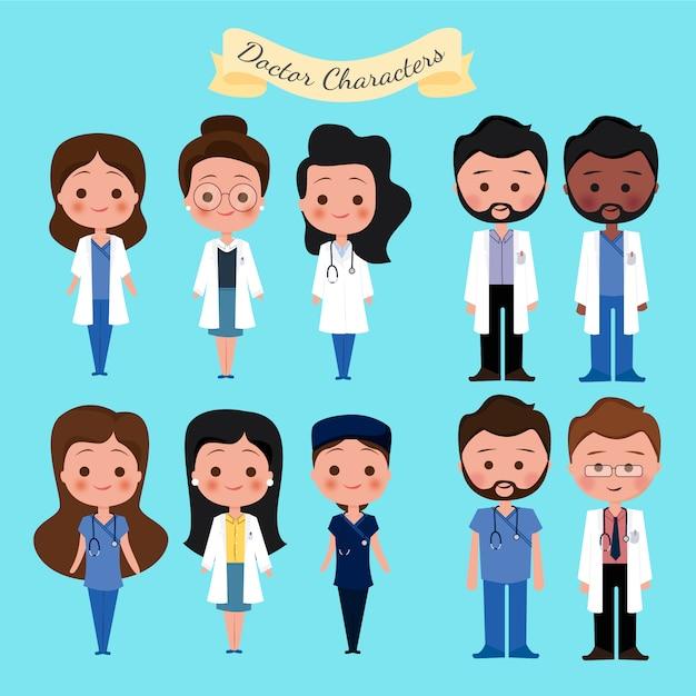 Collezione di personaggi medici Vettore gratuito