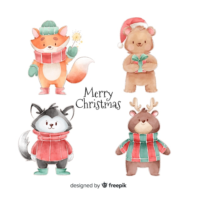 Collezione di personaggi natalizi dell'acquerello Vettore gratuito